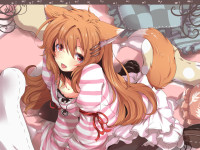 Konachan.com - 78239 animal_ears bed brown_hair dress foxgirl long_hair miko_ooka nejime ribbons skirt tail utau.jpg